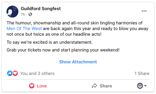 """Graphic of text that reads: """"The humour, showmanship and all-round skin tingling harmonies of Men Of The West are back again this year and ready to blow you away not once but twice as one of our headline acts! To say we're excited is an understatement.  Grab your tickets now and start planning your weekend!"""""""